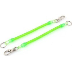 Unique Bargains 2Pcs Lobster Clasp Stretchy Spring Coil Keychain Keyring Key Holder Bright Green
