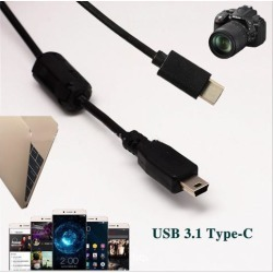 USB 3.1 Type-C to Mini 5Pin USB 2.0 Data Adapter Cable Connector Cord for Canon EOS Rebel T1i T2i T3 T3i T4i T5 T5i