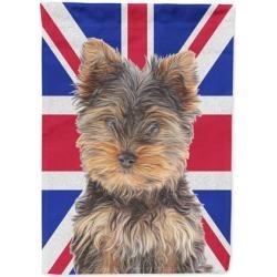 Yorkie Puppy / Yorkshire Terrier with English Union Jack British Flag Flag Garden Size KJ1167GF