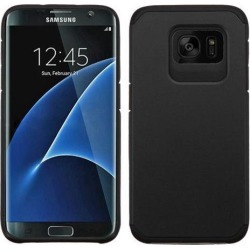 For Samsung GALAXY S7 EDGE Slim Hybrid Rubber Hard Protective Case Cover Black