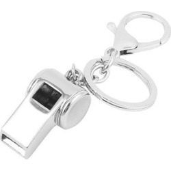 Metal Whistle Pendant Lobster Clasp Keychain Keyring Key Holder Silver Tone