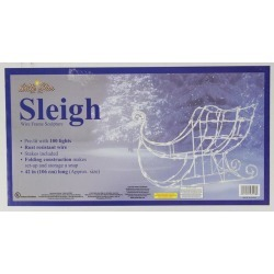 42' Lighted White Sleigh Christmas Outdoor Decoration - Clear Lights