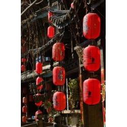 Old Town red lanterns outside restaurants, Xinhua Jie Street, Lijiang, Yunnan Province, China Print by Walter Bibikow