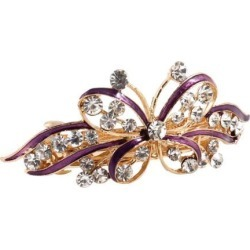 Unique Bargains Woman Girl Wedding Butterfly Style Faux Rhinestone Hair Clip Hairpin Purple