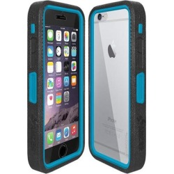 Amzer Black on Blue Embedded Tempered Glass Rugged Case With Holster for Silver/Gold Apple iPhone 6 Plus / 6S Plus