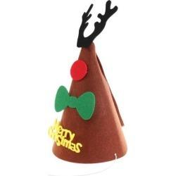 Christmas DIY Felt Cone Hat Reindeer Horn Cap Kids Fancy Dress Costume Props