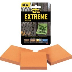Post-it XTRM333TRYOG Extreme Notes, 3 in. x 3 in, Orange, 3 Pads/Pack, 45 Sheets/Pad