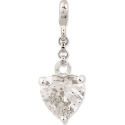 Sterling Silver Clear CZ Heart 1/2in Dangle Enhancer