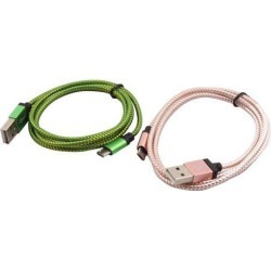 Cellphone PC Nylon Braided USB 2.0 A Male to Micro B Charger Data Cable 2pcs