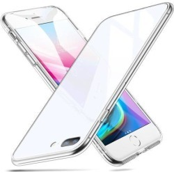 ESR iPhone 8 Plus Case, iPhone 7 Plus Case, 9H Tempered Glass Back Cover [Scratch-Resistant] + Soft Silicone Bumper [Shock Absorption] for iPhone 8