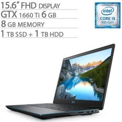 Dell G-Series 15 3590 15.6' FHD Gaming Laptop, Core i5-9300H, GTX 1660 Ti 6GB GDDR6, 8GB RAM, 1TB SSD+1TB HDD, Quad-Core up to 4.10 GHz, RJ-45 LAN.