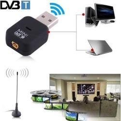 Mini Portable Digital TV Stick Card USB DVB-T Tuner Receiver With Remote Control for Laptop PC