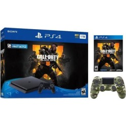 Playstation 4 Slim 1TB Jet Black Call of Duty Black Ops 4 Bundle With an Extra Green Camouflage DualShock 4 Wireless Controller