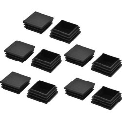 Unique Bargains 10 Pcs Antislip Plastic Square 43mm x 43mm Chair Foot Cover Table Furniture Leg Protector Black found on Bargain Bro India from Newegg Canada for $9.70