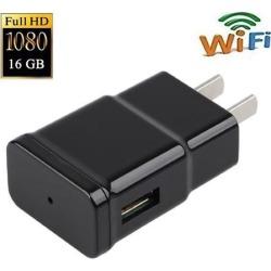 1080P Wifi Spy Camera Adapter Hidden Adapter Camera Mini Camcorder Video Recorder Cam Security & Surveillance Cameras with Built in 16GB Memory