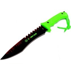 Zombie-War 13' Stainless Steel Hunting Knife with Neon Green Handle