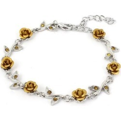 Unique Bargains Lady Lobster Hook Rose Shape Decor Adjustable Chain Wrist Bracelet Gold Tone found on Bargain Bro India from Newegg Canada for $10.73