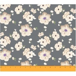 Soimoi Dressmaking 60 GSM Floral Printed Cotton Fabric For Sewing By The Meter 58 Inches Wide - Gray