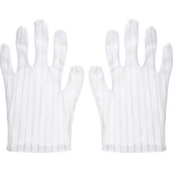 Anti Static Gloves Full Finger Labor Non-slip Glove for Electronics 210x100mm White 3 Pairs