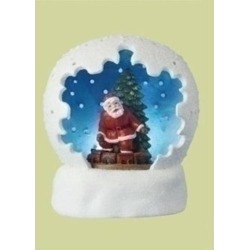 4' Battery Operated LED Lighted Santa Claus & Christmas Tree Table Top Domes