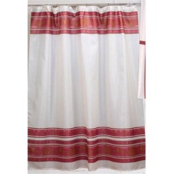 Carnation Home Fashions Fleur Fabric Shower Curtain in Burgundy