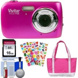 Vivitar ViviCam F126 Digital Camera + Kids Bundle (Pink)