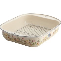 Paula Deen Enamel-on-Steel Roaster with Removable Chrome Rack, 14-Inch x 12-Inch, Garden Rooster