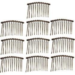 10pcs DIY Blank Metal Hair Clips Side Comb 12 Teeth Hair Accessories Bronze