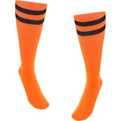 Women Men Stretchy Knee High Football Soccer Long Socks Stockings Orange