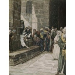 Posterazzi SAL999425 Woman Taken in Adultery Jesus Writes on Ground James Tissot 1836-1902 French Poster Print - 18 x 24 in.