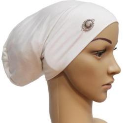Women Muslim Stretch Hijab Hat Hair Loss Cover Scarf Chemo Cap White