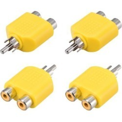 RCA Male to 2 RCA Female Connector Splitter Adapter Coupler Yellow 4Pcs for Stereo Audio Video AV TV Cable Convert