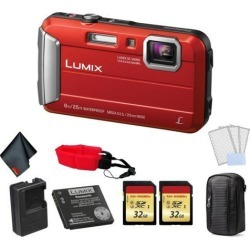 Panasonic Lumix Waterproof Digital Camera (Red) - Bundle with 2x 32 GB Memory cards + Floating Wrist Strap + LCD Screen Protectors and MORE