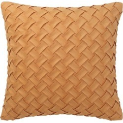 Throw Pillow Cover Stylish Basket Weave Pattern Soft Solid Decorative Pillow Case Home Decor Design Cushion Cover for Sofa Bedroom Car, Orange.