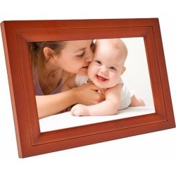 Real Wood 7' Wi-Fi Digital Photo Frame (7-inch LCD HD Touch Display, iPhone & Android App (EZFun2), 4GB Internal Memory (Expandable), Real Wood.