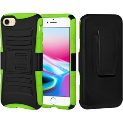 Rugged TUFF Hybrid Armor Hard Defender Case with Holster - Black/ Neon Green for iPhone 8