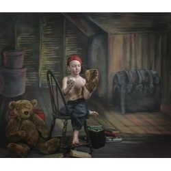 Posterazzi DPI1877045LARGE A Boy In The Attic with Old Relics - Victoria, British Columbia, Canada Poster Print, 30 x 26 - Large