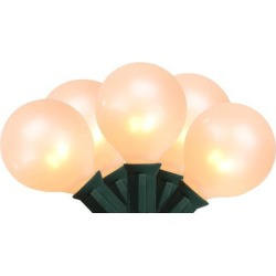 15-Count Pearl White G50 Globe Christmas Light Set, 13.75ft Green Wire