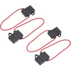 4pcs 12-24V Black Rubber H-Shape Cap Wired Inline Blade Fuse Holder for Car