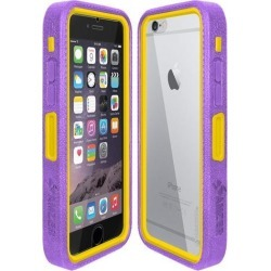 Amzer CRUSTA Rugged Case Purple on Yellow Shell Tempered Glass with Holster for iPhone 6 Plus