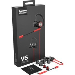 V6 Gaming Headset Wired Vibration Games Headphone with Mic Stereo Bass PC Earphones 3.5mm Plug Handsfree Call In-ear Earhook