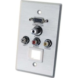 Cables To Go Single Gang HD15 VGA + 3.5mm + Composite Video + Stereo Audio + Keystone Wall Plate 40504