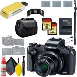 Canon PowerShot G1 X Mark III Digital Camera & 128GB MicroSD x2 & Carrying Case & Battery x2