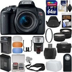 Canon EOS Rebel T7i Digital SLR Camera & EF-S 18-55mm IS STM Lens with 64GB Card + Case + Flash + Battery & Charger + Filter + Tele/Wide Lens Kit