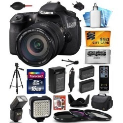Canon EOS 60D 18 MP CMOS Digital SLR Camera with EF-S 18-200mm f/3.5-5.6 IS Lens includes 16GB Memory + Large Case + Tripod + Flash + Video Light +.