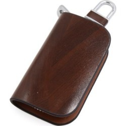 Brown Faux Leather Wood Veins Zipper Keys Keeper Coins Holder for Car Vehicle