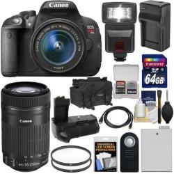 Canon EOS Rebel T5i Digital SLR Camera & EF-S 18-55mm IS STM Lens with EF-S 55-250mm IS STM Lens + 64GB Card + Battery + Case + Flash + Grip + Kit