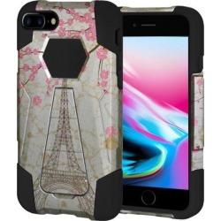 Amzer Dual Layer Designer Hybrid Case with Kickstand - White Vintage Eiffel Tower Paris Sakura Floral for iPhone 8 Plus