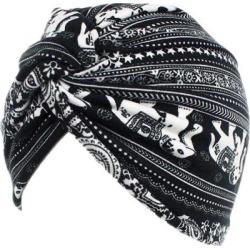 Women Cotton Turban Head Wrap Chemo Hair Loss Sleep Cap Black Elephant