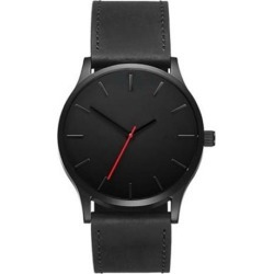 Men Concise Casual Watches Quartz Clock Fashion Army Military Leather Wrist Band Watch Black black dial